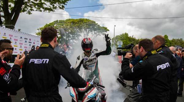 RL360° TT Superstock Race winner Ian Hutchinson celebrates his victory