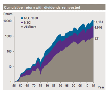 Graph showing cumulative return with dividends reinvested